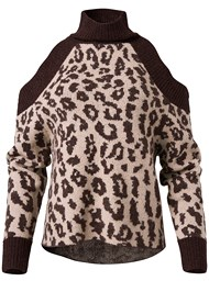 Alternate View Leopard Print Cold Shoulder Sweater
