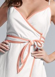 Detail front view Linen Wrap Maxi Dress