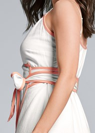 Detail back view Linen Wrap Maxi Dress