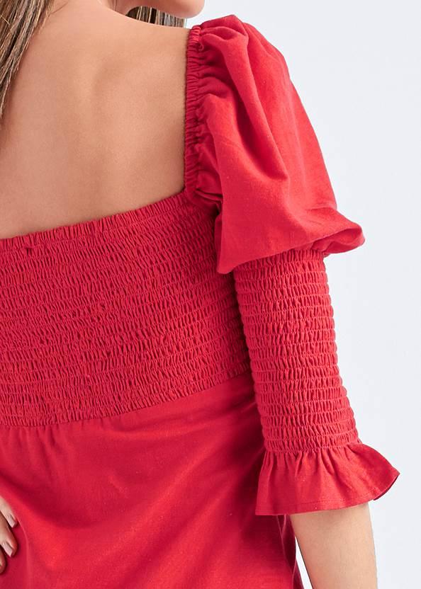 Detail back view Puff Sleeve Linen Dress