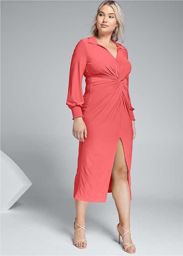 Maxi Shirt Dress,Embellished Lucite Heel