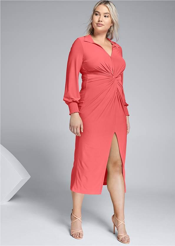 Maxi Shirt Dress,Sexy Slingback Heels,Tie Dye Tassel Earrings