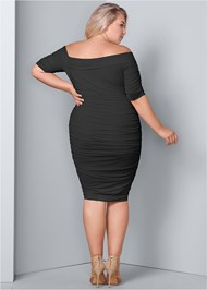 Back View Ruched Mesh Bodycon Dress