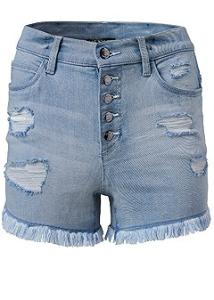 plus size destroyed denim shorts
