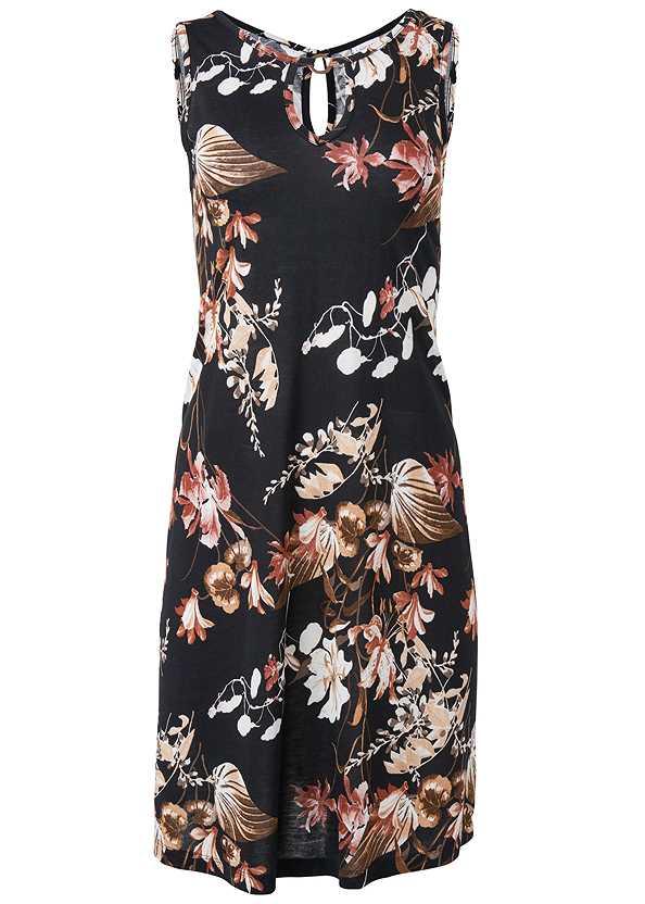 Floral Printed Casual Dress,Long Circle Earrings,Tassel Detail Bag