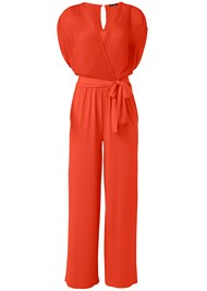 Ghost with background  view Pleated Tie Front Jumpsuit