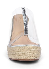 Shoe series front view Lucite Raffia Wedge