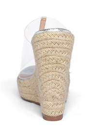 Shoe series back view Lucite Raffia Wedge