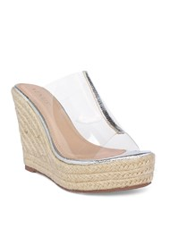 Front View Lucite Raffia Wedge