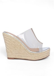 Shoe series side view Lucite Raffia Wedge