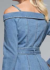 Alternate View Button Front Denim Dress