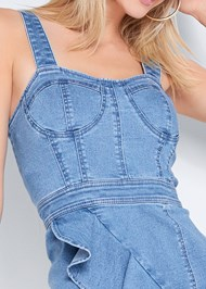 Alternate View Ruffle Hem Denim Dress