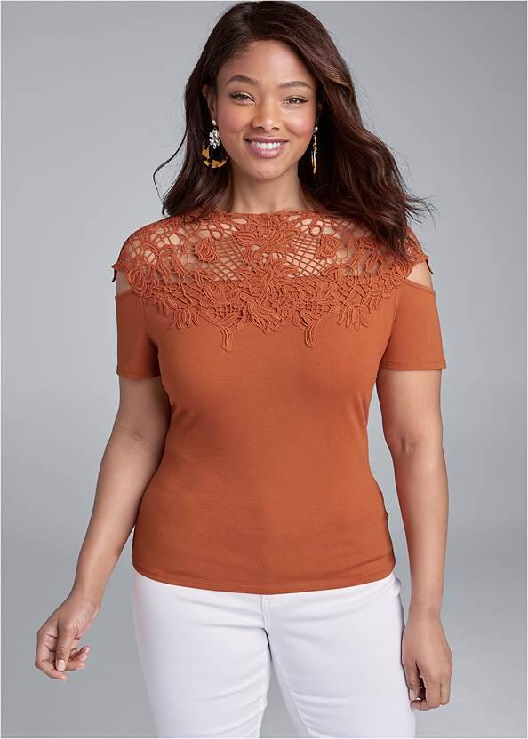 Crochet Cold Shoulder Top,Mid Rise Color Skinny Jeans