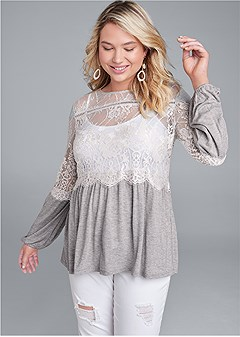 plus size sheer lace detail top