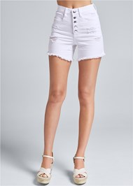 Waist down front view Ripped Jean Shorts