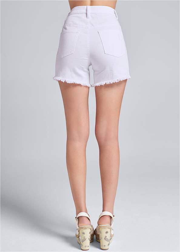 Waist down back view Ripped Jean Shorts