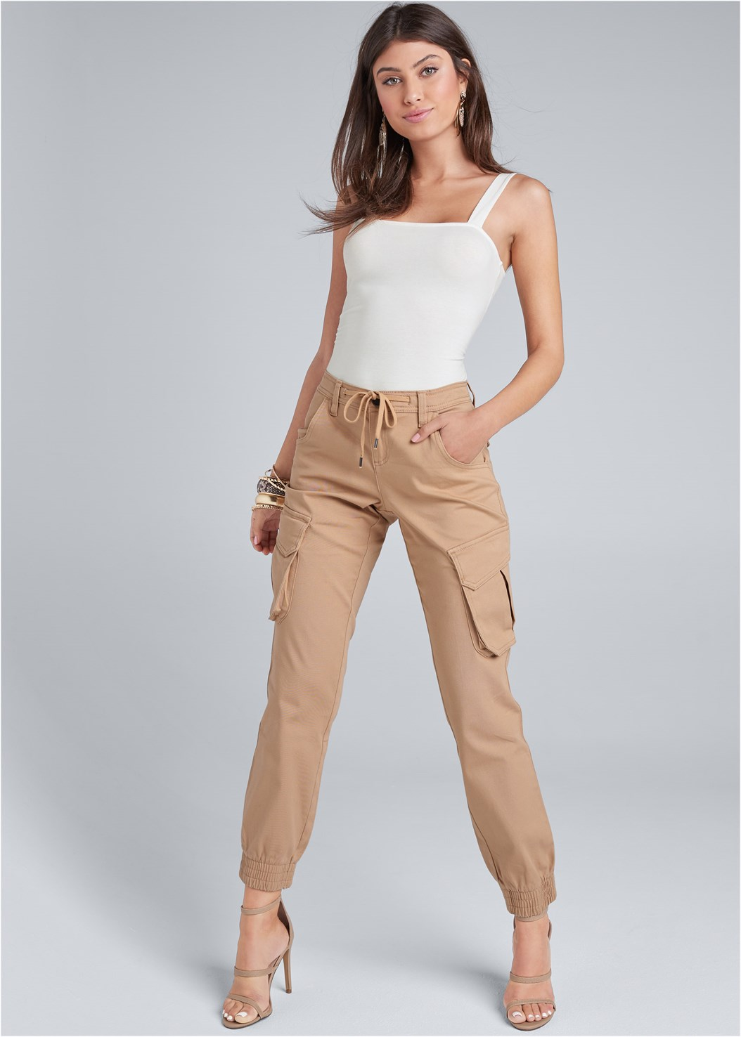 Cargo Pants,Square Neck Bodysuit,High Heel Strappy Sandals