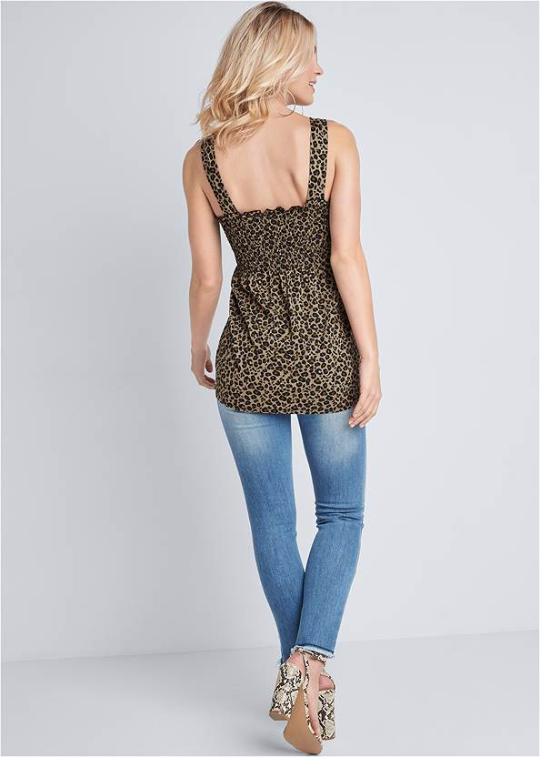 Back View Smocked Leopard Tunic