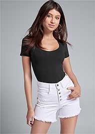 Cropped Front View Ripped Jean Shorts