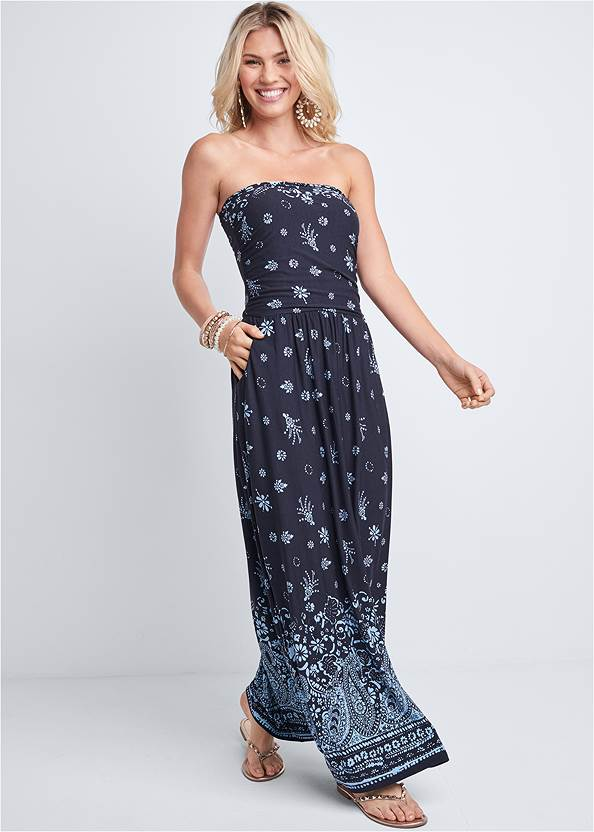 Front View Strapless Print Maxi Dress