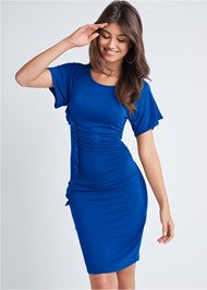 Cropped front view Ruched Casual Dress