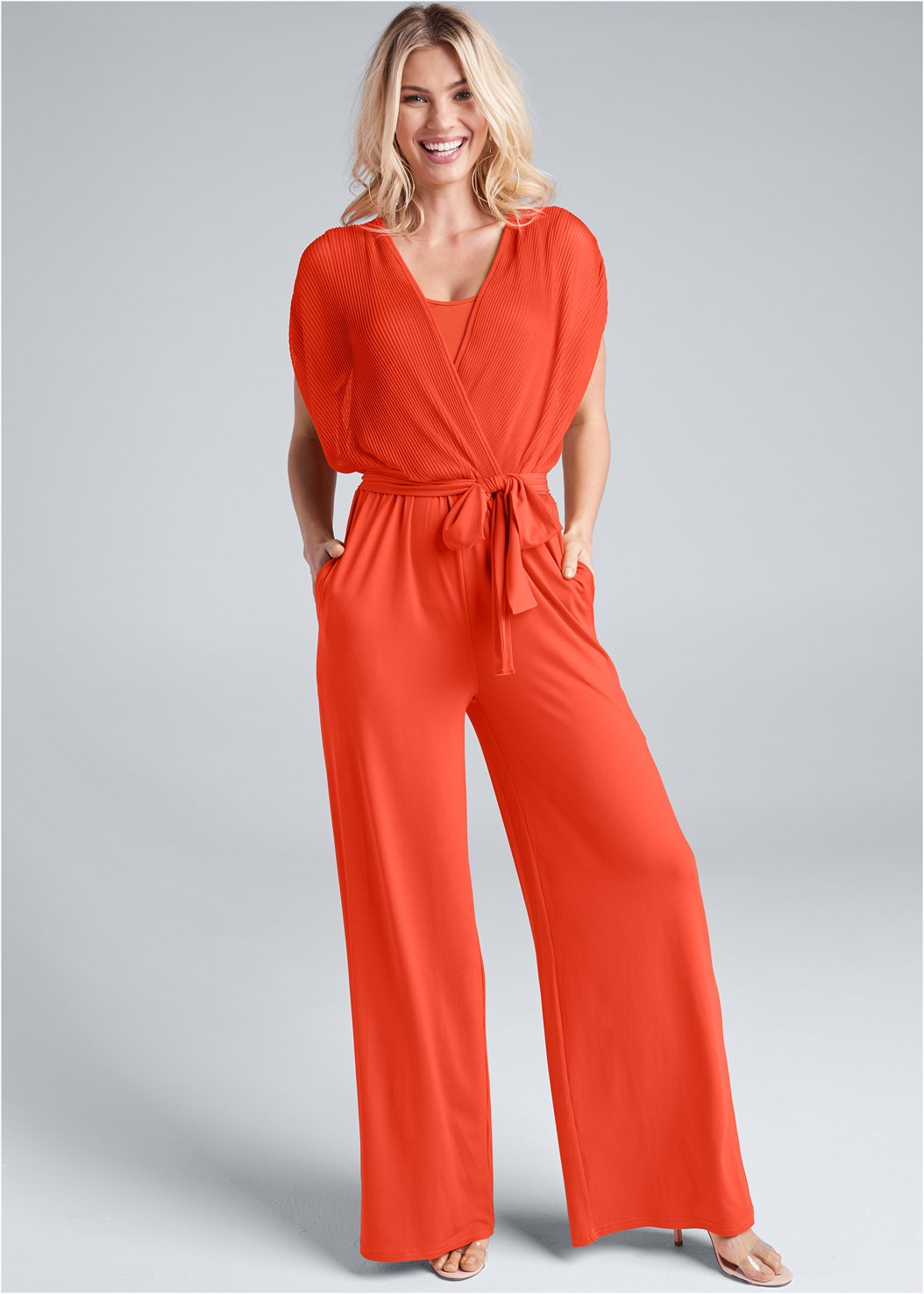 Pleated Tie Front Jumpsuit,Embellished Lucite Heel,Hoop Earrings