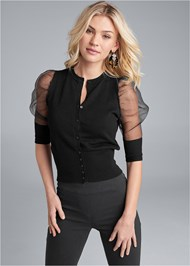Cropped front view Organza Puff Sleeve Sweater