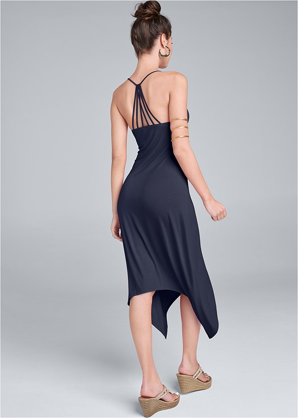 Strappy Back Dress,Embellished Wedges,Hammered Metal Earrings,Etched Metal Upper Arm Band
