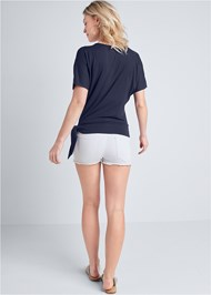 Full back view Side Knot Casual Top