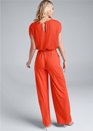 Full back view Pleated Tie Front Jumpsuit