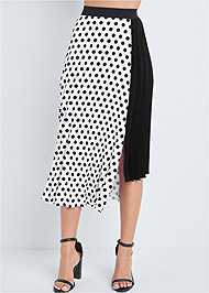 Waist down front view Polka Dot Pleated Skirt