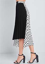 Waist down side view Polka Dot Pleated Skirt