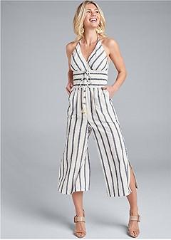 halter stripe jumpsuit