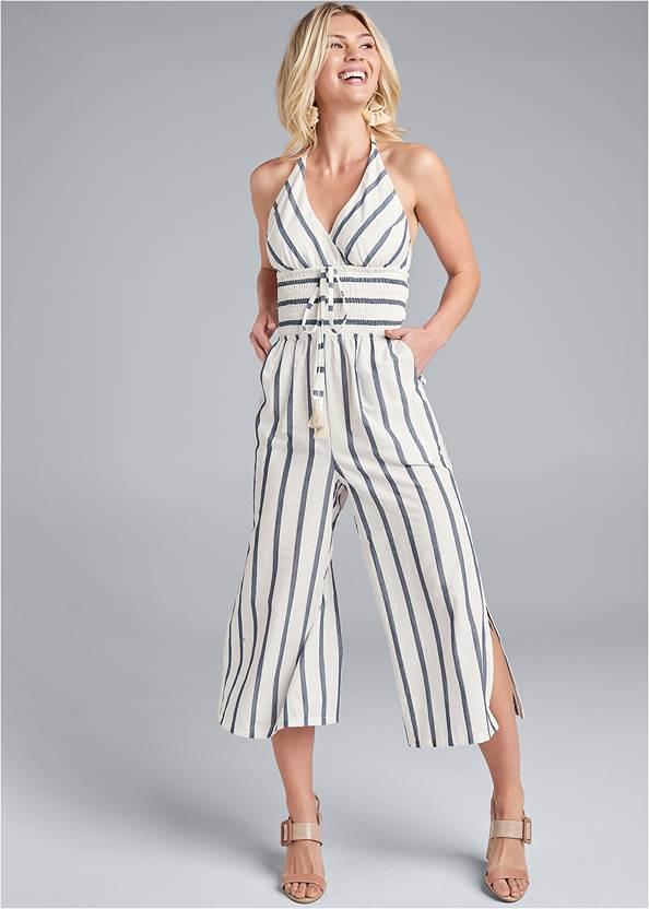Halter Stripe Jumpsuit,Beaded Drop Earrings,High Heel Strappy Sandals