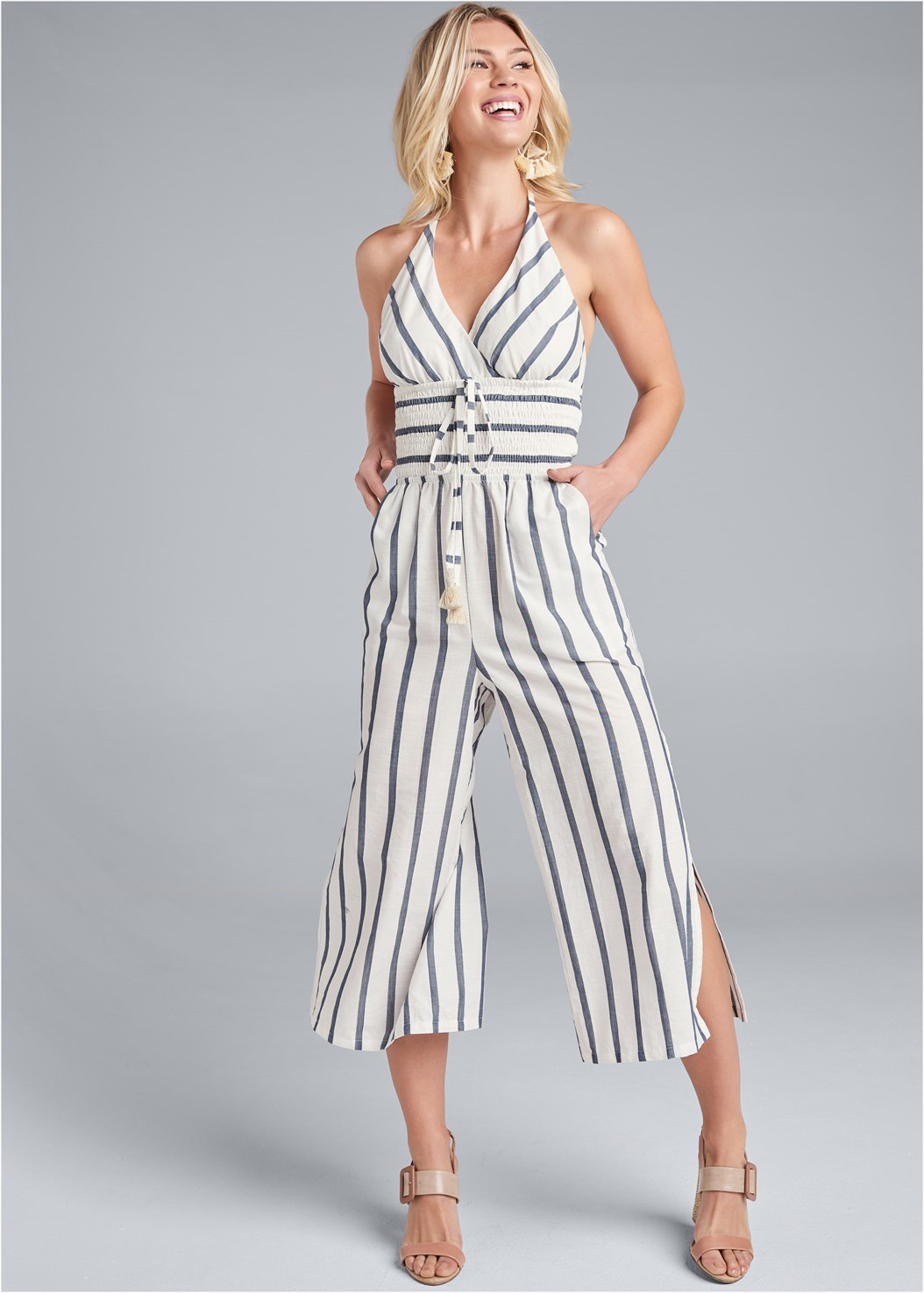 Halter Stripe Jumpsuit,Shell Earrings