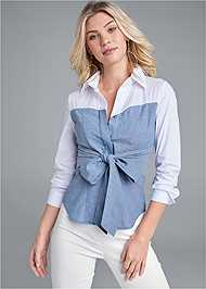 Cropped front view Twofer Blouse