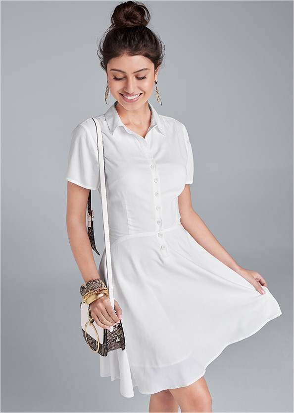 A-Line Shirt Dress,High Heel Strappy Sandals,Lucite Detail Print Heels,Print Detail Handbag,Animal Print Bangle Set