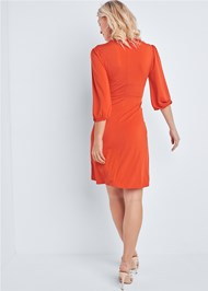 Full back view Pleated Front Midi Dress