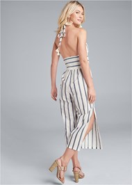 Back View Halter Stripe Jumpsuit