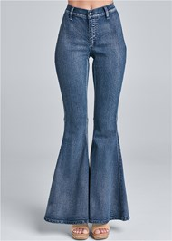 Waist down front view Flare Jeans