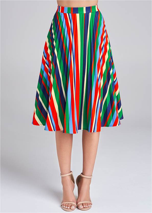 Waist down front view Multi Stripe Pleated Skirt