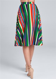 Waist down back view Multi Stripe Pleated Skirt