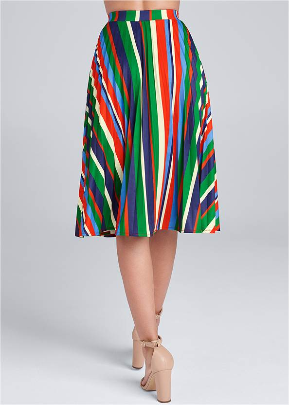 Waist down back view Multi Stripe Pleated Skirt