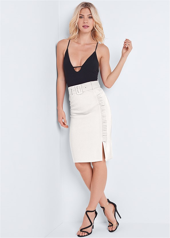 Belted Pencil Skirt,Off The Shoulder Bodysuit,Asymmetrical Strappy Heels,Hoop Earrings