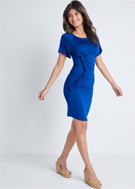 Full front view Ruched Casual Dress
