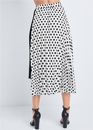 Waist down back view Polka Dot Pleated Skirt