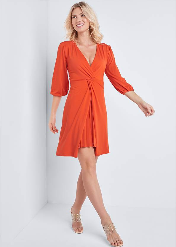 Full front view Pleated Front Midi Dress