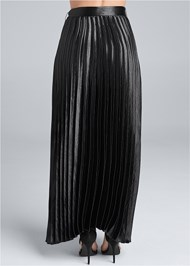 Waist down back view Belted Pleated Satin Skirt