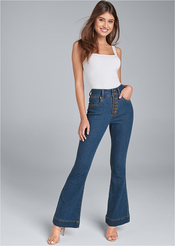 High Waisted Flare Jeans,High Heel Strappy Sandals,Lucite Detail Print Heels,Casual Bootcut Jeans