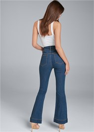 Back View High Waisted Flare Jeans